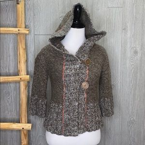 Free People Wool Blend Button Hooded Cardigan SM